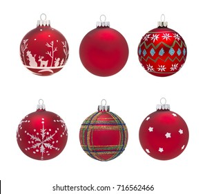 Group of isolated red christmas baubles with different decorations