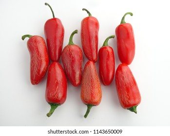 Group of Isolated red Jalapeño Peppers