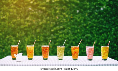 group of Italian soda in the garden, best refreshment in hot summer time
