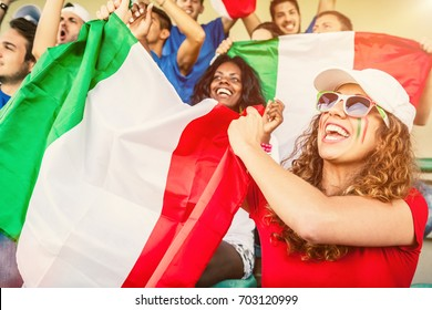 Group of Italian Supporters at the Stadium, Soccer Championship