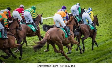 Group of jockeys and race horses racing on track