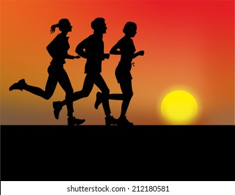 group of jogger with sunset as backdrop