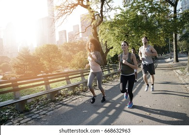 Group of joggers exercising at Central park, NYC