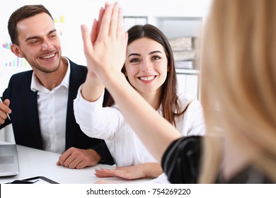 Group of joyful smiling happy people celebrate win with arms up. Mediation offer high five friendship deal achievement strike bargain good news friendly consent successful effective strategy