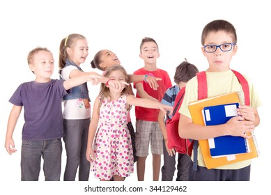 group of kids bullying classmate isolated in white
