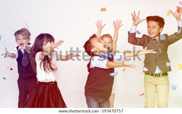 Group of kids celebrating in a party