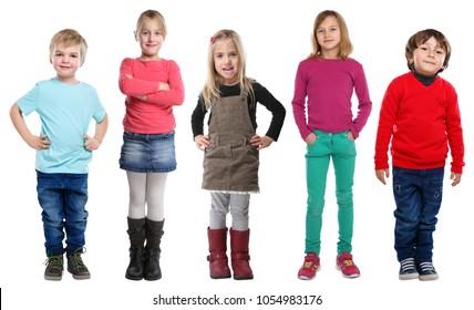 Group of kids children little boys girls full body portrait isolated on a white background
