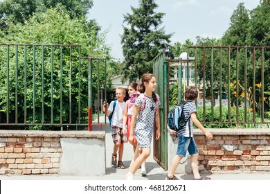 Group of kids going home from school together