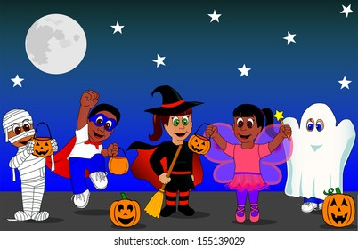 Group of Kids in Halloween Costumes  Vector Available