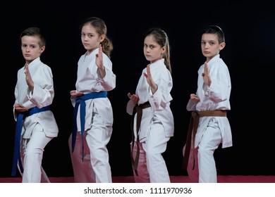 Group kids Karate martial Arts