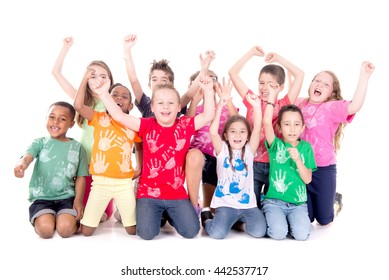group of kids posing isolated in white