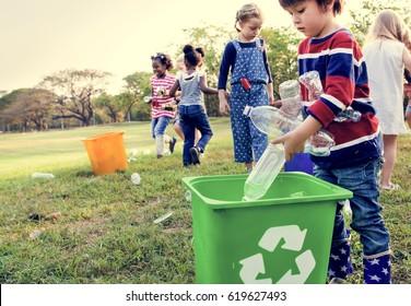 Group of kids school volunteer charity environment