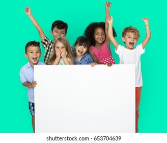 Group of Kids Showing Copy-space Board
