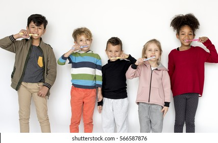 Group of Kids Toothbrush Healthcare Dental