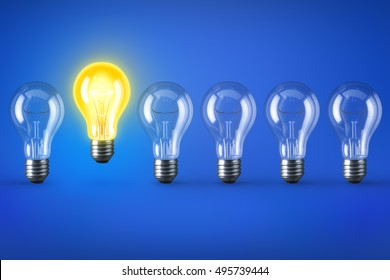 Group of lamp bulbs on blue background and one illuminated bulb. 3D illustration