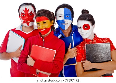 Group of languages students with flags of different countries painted on their faces