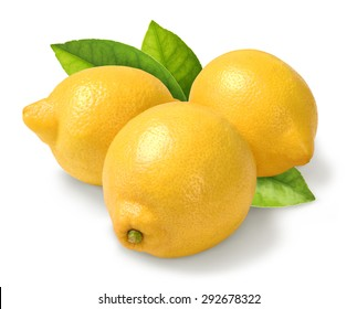 group of lemons with leaves