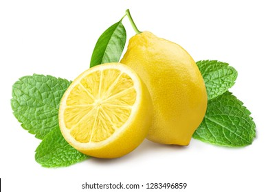 Group of lemons with mint leaves, isolated on white background