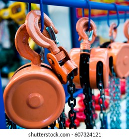 Group of lifting hook equipment.
