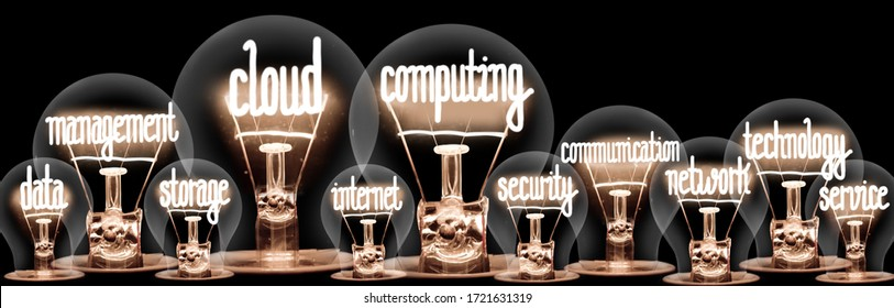 Group of light bulbs with shining fibers in a shape of Cloud Computing, Data, Storage, Internet and Service concept related words isolated on black background