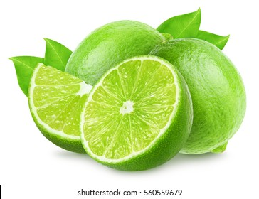 Group of lime fruit isolated on white, clipping path