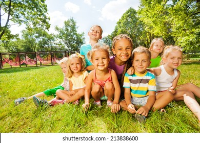 Group of little boys and girls on the lawn