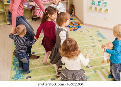 Group of little children dancing