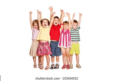 Group of little children raising hands up and smiling, ready for your text or symbols. Isolated on white background