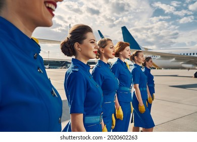 Group of lovely slim flight attendants staring into the distance