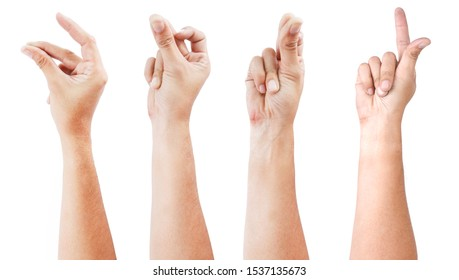 GROUP of Male asian hand gestures isolated over the white background. SNAP ACTON.