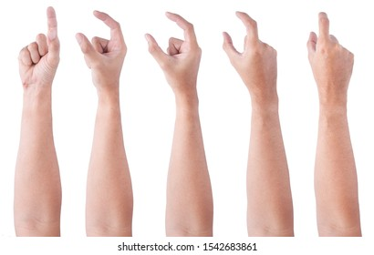 GROUP of Male asian hand gestures isolated over the white background. Soft Grab with Two Fingers Action.