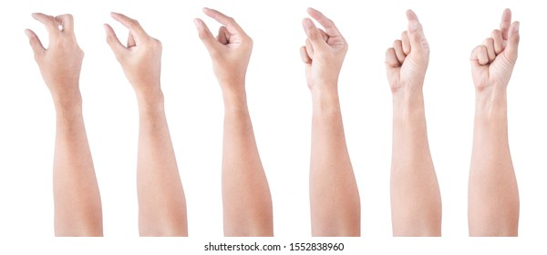 Group of Male asian hand gestures isolated over the white background. Hand Grab Thing with Two fingers Action.