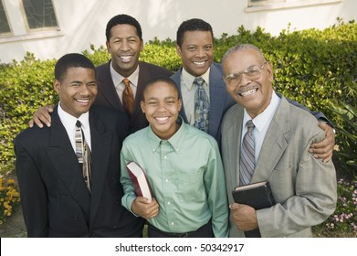 Group of male churchgoers, portrait
