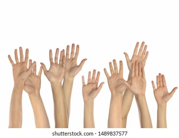 Group of male and female hands up on white background