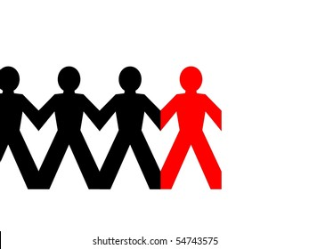 Group of man standing in line on white background