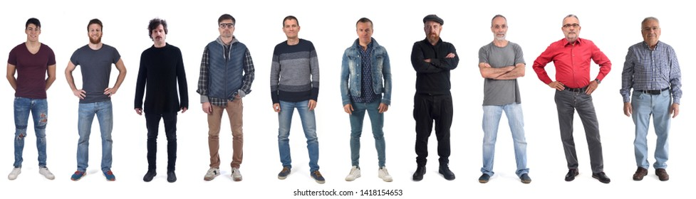 group of man from twenty to seventy isolated on a white background