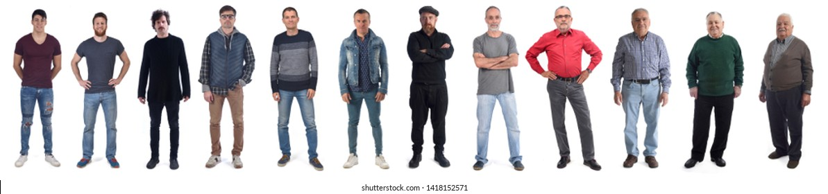 group of man from twenty years to ninety isolated on a white background