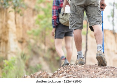 Group of man and women are walking trough forest path wearing mountain boots and walking sticks. Low section view.