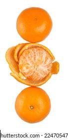 A group of Mandarin orange fruit over white background