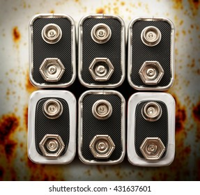 Group of many batteries on white in closeup