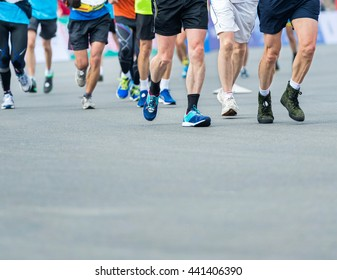 Group of marathon runners compete in the race