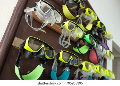 Group of mask ready for tourist to diving underwater