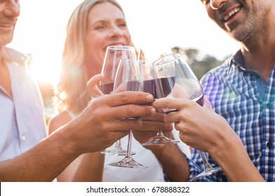 Group of mature friends raising a toast with glasses of red wine outdoor during sunset. Close up hands of senior men and women toasting with wine. Close up shot of friends hands cheering.