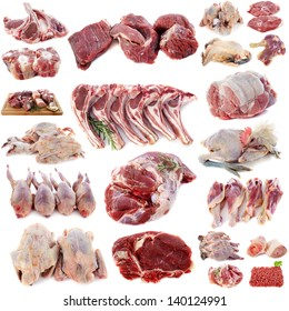 group of meats in front of white background