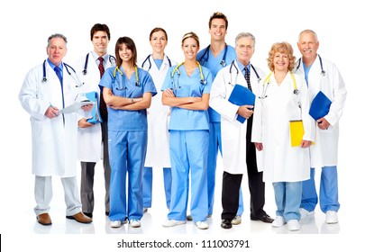 Group of medical doctors. Isolated over white background.