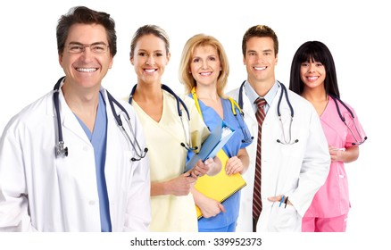 Group of medical doctors isolated over white background.