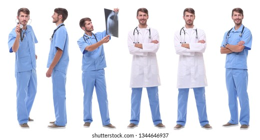 group of medical doctors standing in a row