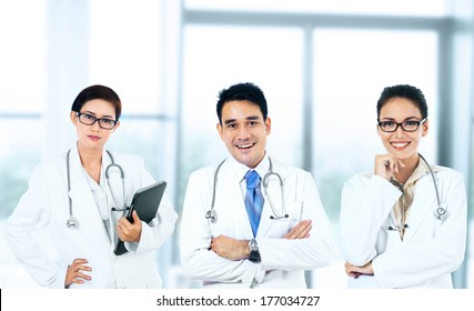 Group of medical doctors team standing in hospital