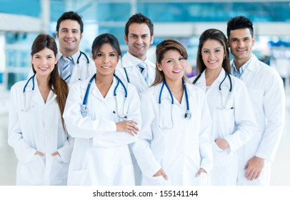 Group of medical staff smiling at the hospital