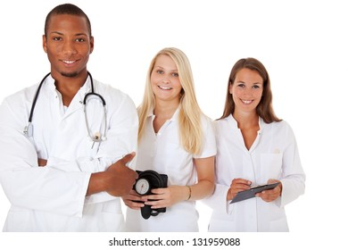Group of medical students. All on white background.